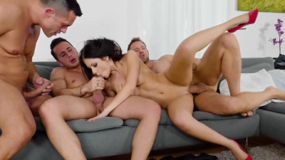 Rebecca Volpetti fucked in all her fuck holes in a foursome gang bang