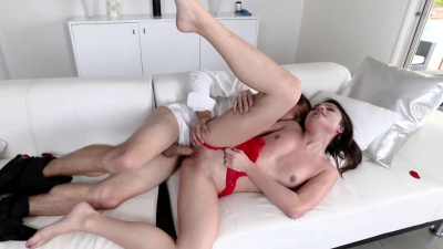 Adria Rae in sexy red underwear surprises her boyfriend and has sex with him