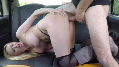 Beautiful blonde Amber Jayne getting plowed in the backseat of the van