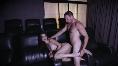 Lacey Channing got her tiny pussy fucked just like she saw on the big screen