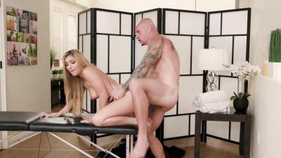Amazing latina Moka Mora oiled up and fucked on massage table