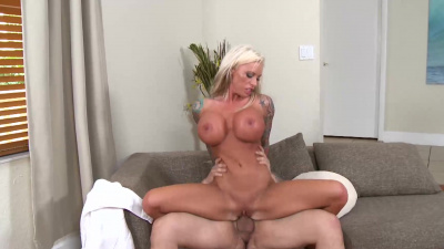 Stacked milf Lolly Ink receives man juice all over those big beautiful tits