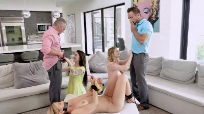 Bunny Colby and Harlowe Blue crazy hardcore foursome