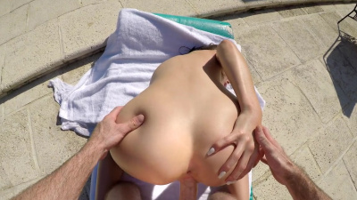 Busty brunette Ashly Anderson having sex in the pool POV