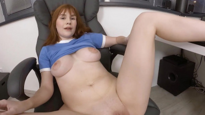 Redhead cutie Sweet Angelina shows naked beauty of her natural juicy tits as well as her clean shaved pussy
