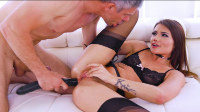 Elegant Adria Rae nasty anal gaping and a tasty ass-to-mouth blowjob
