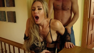 Nicole Aniston gets her pussy fucked & spunked while her husband is out