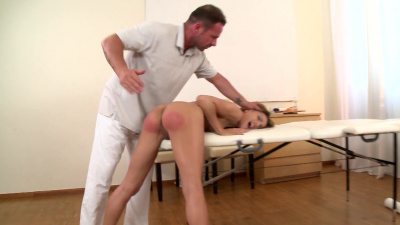 Cleaning lady Lyla Black punished by angry masseur