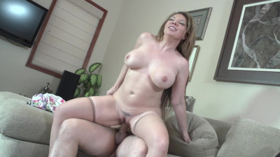 Big breasted milf Kiki Daire sucking and riding young lover
