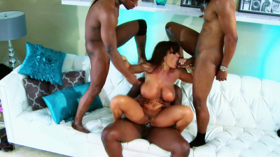 Mature brunette Lisa Ann gangbanged by black dudes