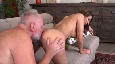 Hot and naughty brunette Sarah Cute takes her creepy landlord's dick in her tiny wet pussy