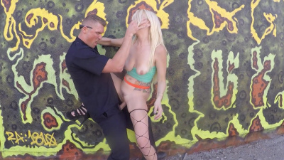 Hooker Skylar Madison punished by cop in public