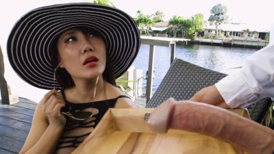 Boss Tiffany Rain enjoys a glass of cum after fucking the bartender by the pool