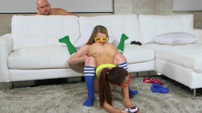 Gamer girls Lexxxus Adams & Vanessa Phoenix riding a meat joystick by turns