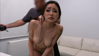 Japanese Rae Lili Black pleases a guy on the couch