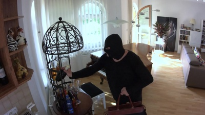 Burglar fucks rough & deep Rebecca Volpetti & feeds his cum