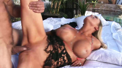 Abbey Brooks strokes and rides her neighbor's big cock outdoors