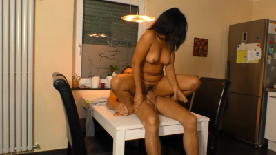 Asian Lee M fucked on the table